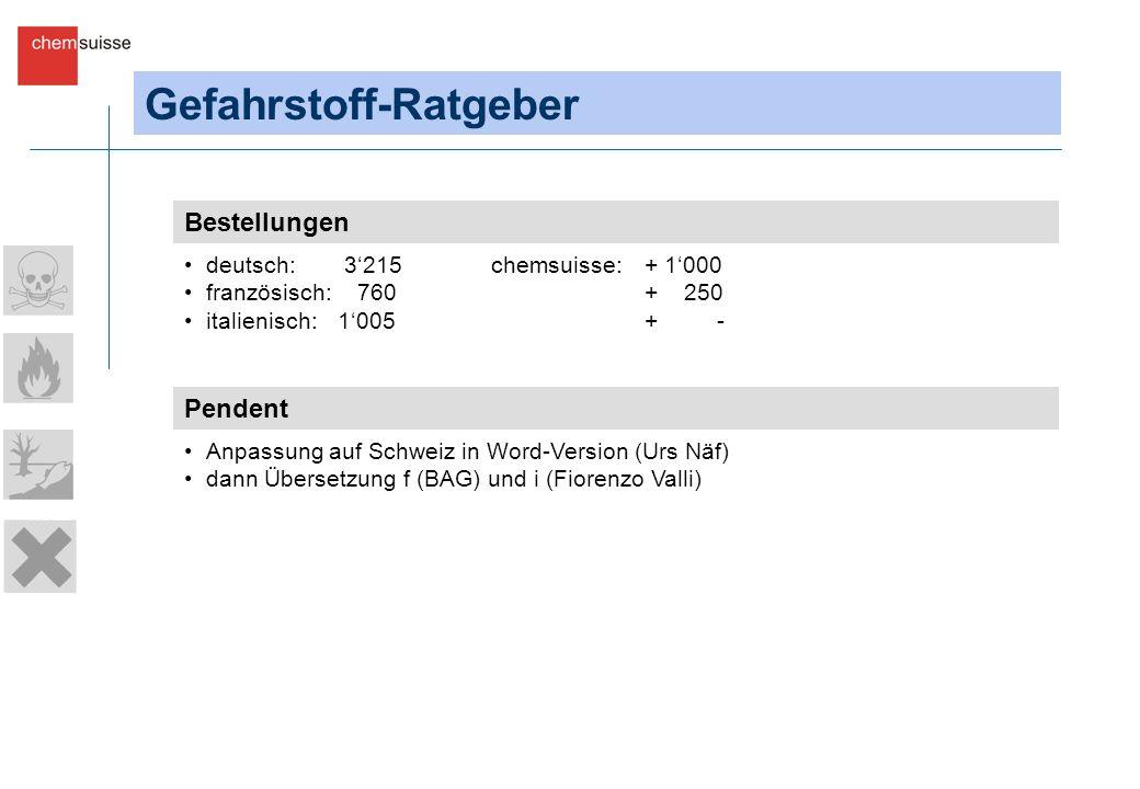 Gefahrstoff-Ratgeber Bestellungen deutsch: 3215chemsuisse: + 1000 französisch: 760+ 250 italienisch: 1005+ - Pendent Anpassung auf Schweiz in Word-Version (Urs Näf) dann Übersetzung f (BAG) und i (Fiorenzo Valli)