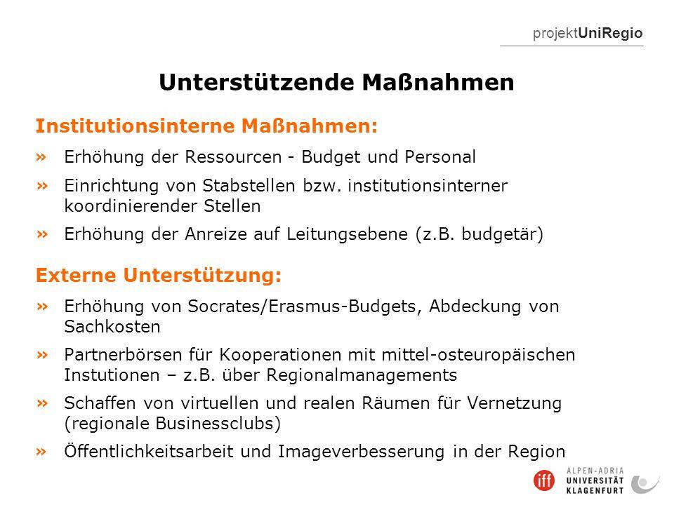 projektUniRegio Unterstützende Maßnahmen Institutionsinterne Maßnahmen: » Erhöhung der Ressourcen - Budget und Personal » Einrichtung von Stabstellen bzw.
