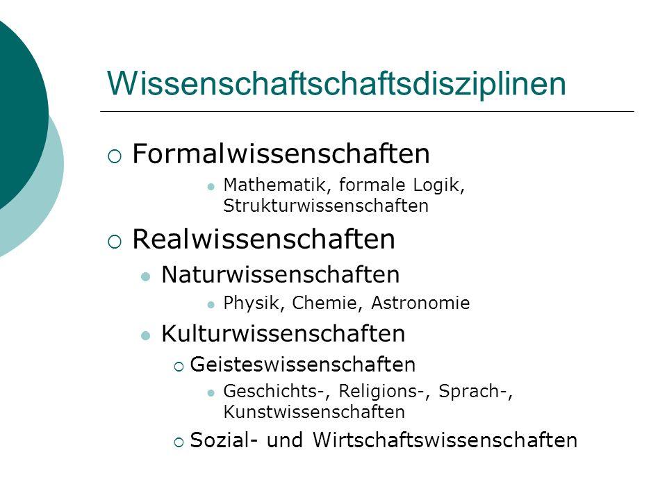 Wissenschaftschaftsdisziplinen Formalwissenschaften Mathematik, formale Logik, Strukturwissenschaften Realwissenschaften Naturwissenschaften Physik, C
