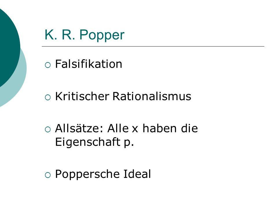 K. R. Popper Falsifikation Kritischer Rationalismus Allsätze: Alle x haben die Eigenschaft p. Poppersche Ideal