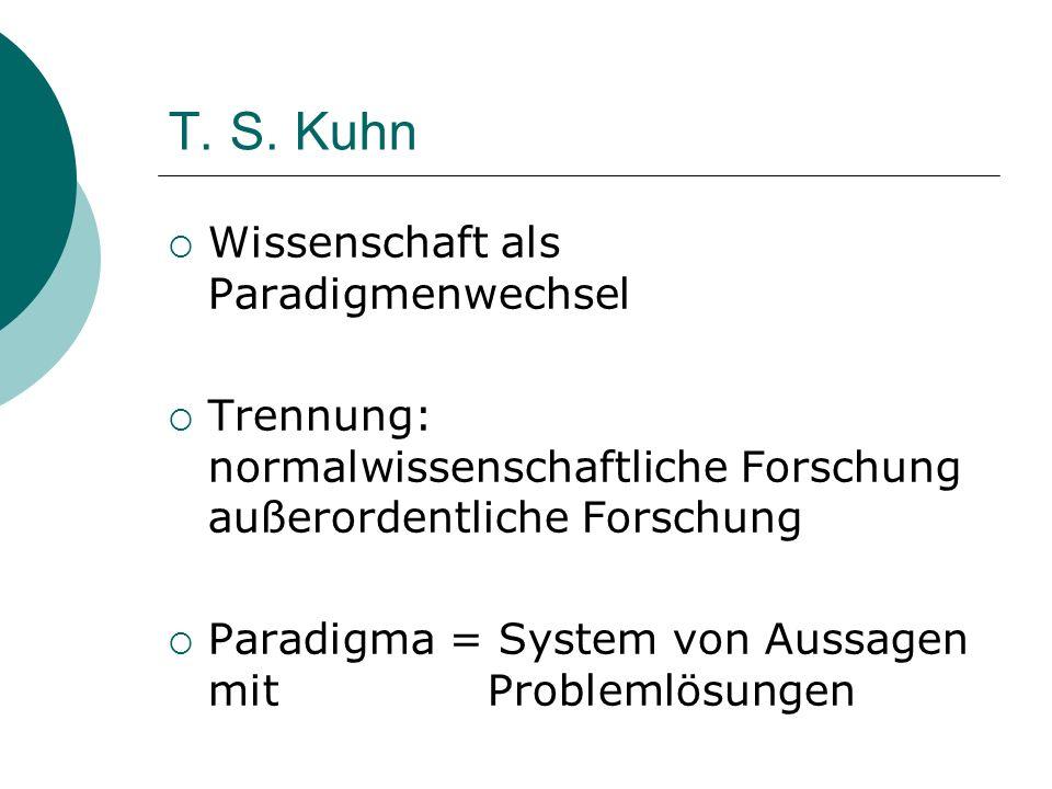 T. S. Kuhn Wissenschaft als Paradigmenwechsel Trennung: normalwissenschaftliche Forschung außerordentliche Forschung Paradigma = System von Aussagen m