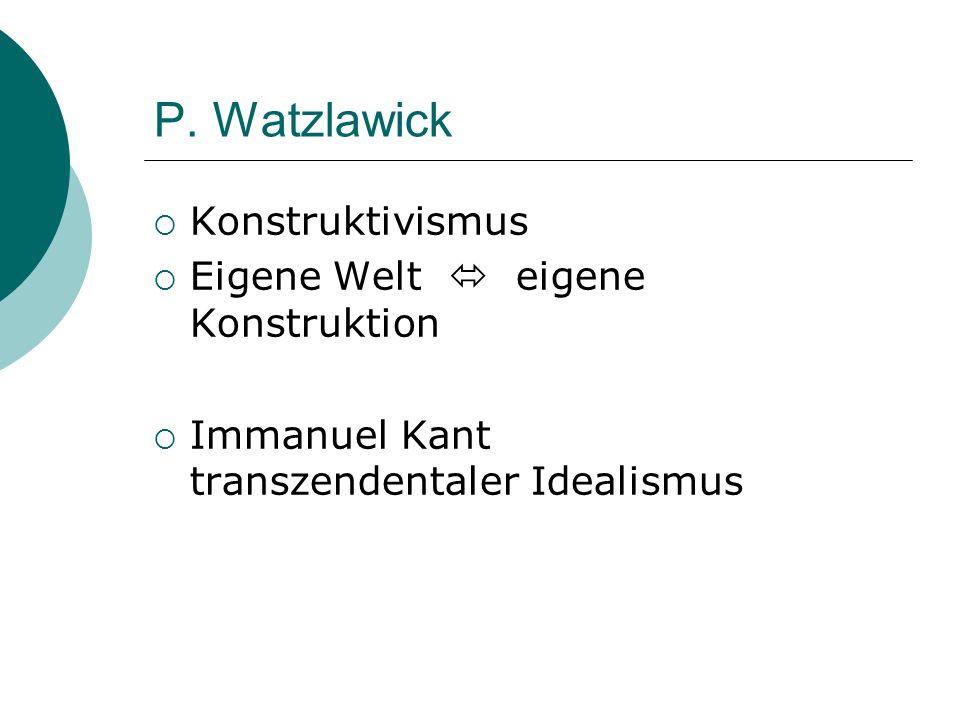 P. Watzlawick Konstruktivismus Eigene Welt eigene Konstruktion Immanuel Kant transzendentaler Idealismus