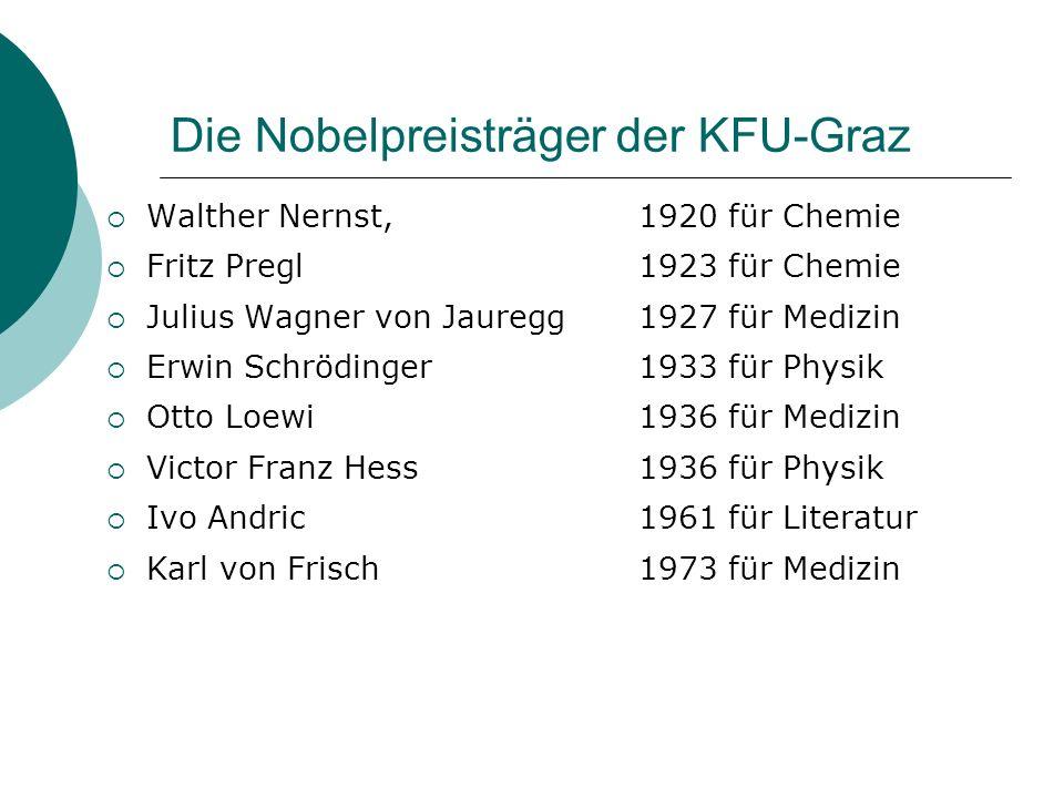 Die Nobelpreisträger der KFU-Graz Walther Nernst, 1920 für Chemie Fritz Pregl1923 für Chemie Julius Wagner von Jauregg1927 für Medizin Erwin Schröding