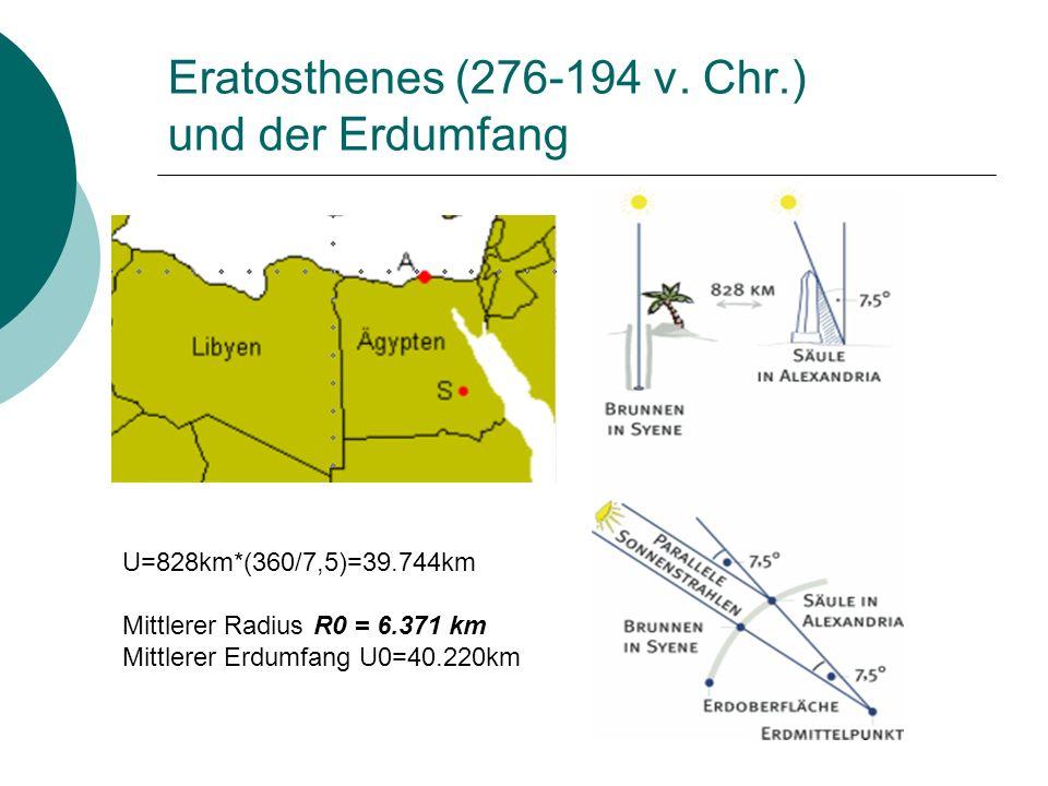 Eratosthenes (276-194 v. Chr.) und der Erdumfang U=828km*(360/7,5)=39.744km Mittlerer Radius R0 = 6.371 km Mittlerer Erdumfang U0=40.220km