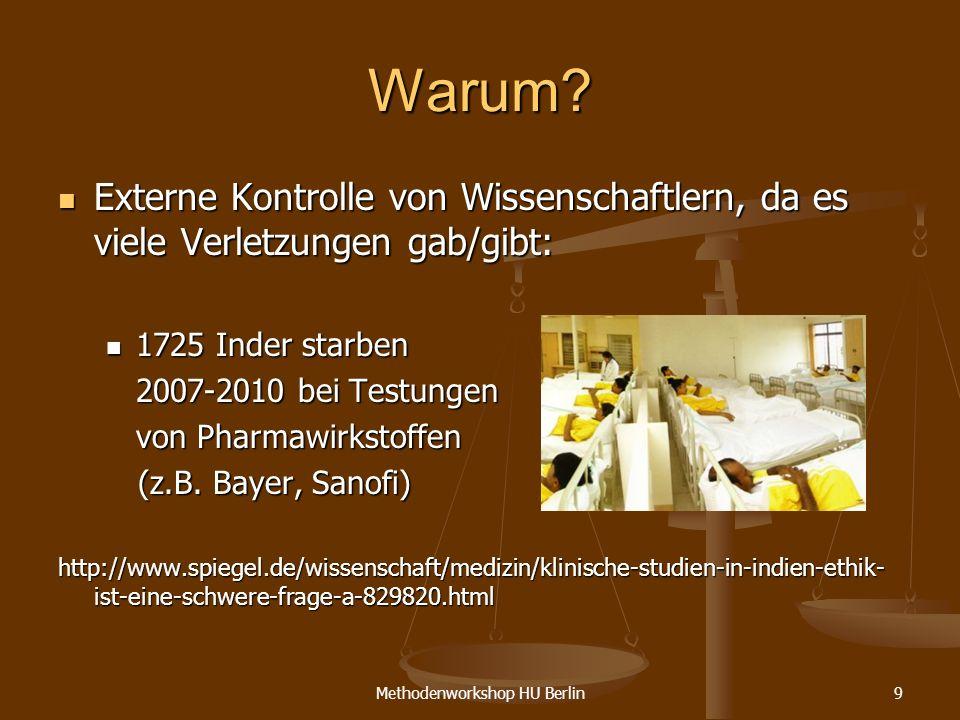 Methodenworkshop HU Berlin9 Warum? Externe Kontrolle von Wissenschaftlern, da es viele Verletzungen gab/gibt: Externe Kontrolle von Wissenschaftlern,