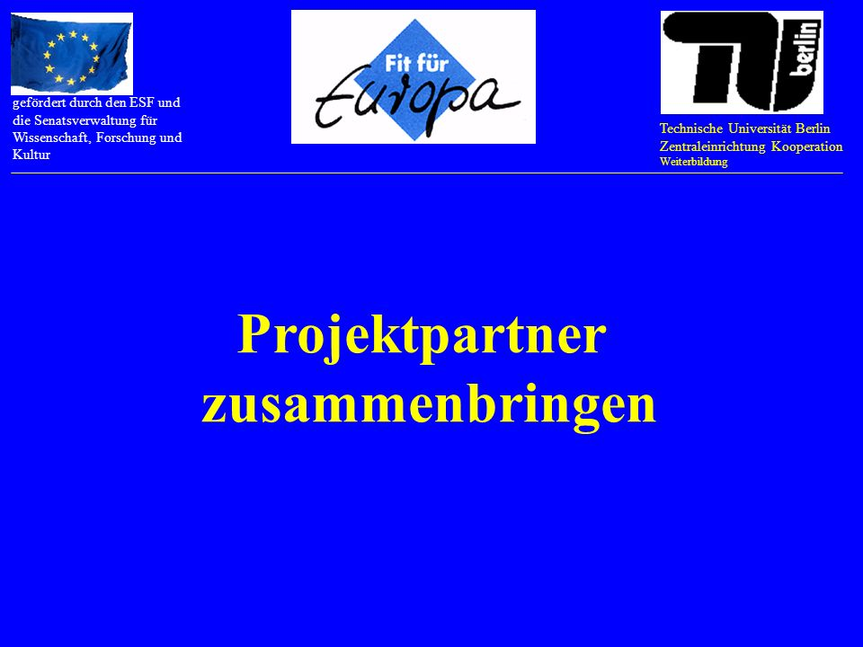 Technische Universität Berlin Zentraleinrichtung Kooperation Weiterbildung gefördert durch den ESF und die Senatsverwaltung für Wissenschaft, Forschung und Kultur EU-Programme im Internet recherchieren