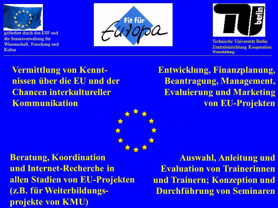 Technische Universität Berlin Zentraleinrichtung Kooperation Weiterbildung gefördert durch den ESF und die Senatsverwaltung für Wissenschaft, Forschung und Kultur Interkulturelle Kommunikation trainieren