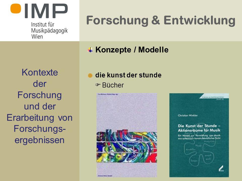 Forschung & Entwicklung Kontexte der Forschung und der Erarbeitung von Forschungs- ergebnissen die kunst der stunde Bücher Konzepte / Modelle