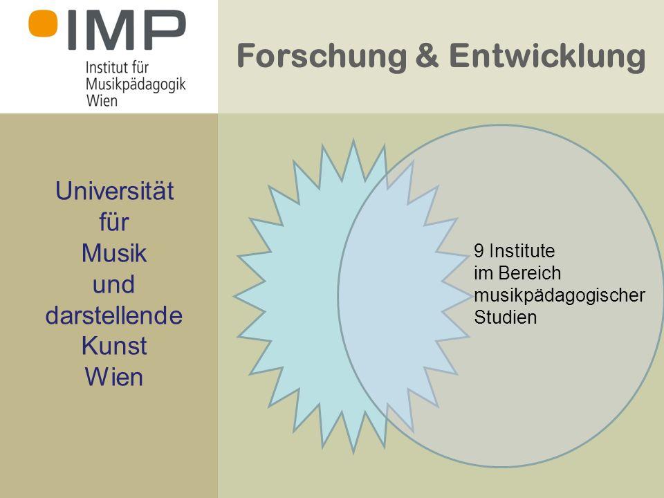 Forschung & Entwicklung Universität für Musik und darstellende Kunst Wien 9 Institute im Bereich musikpädagogischer Studien