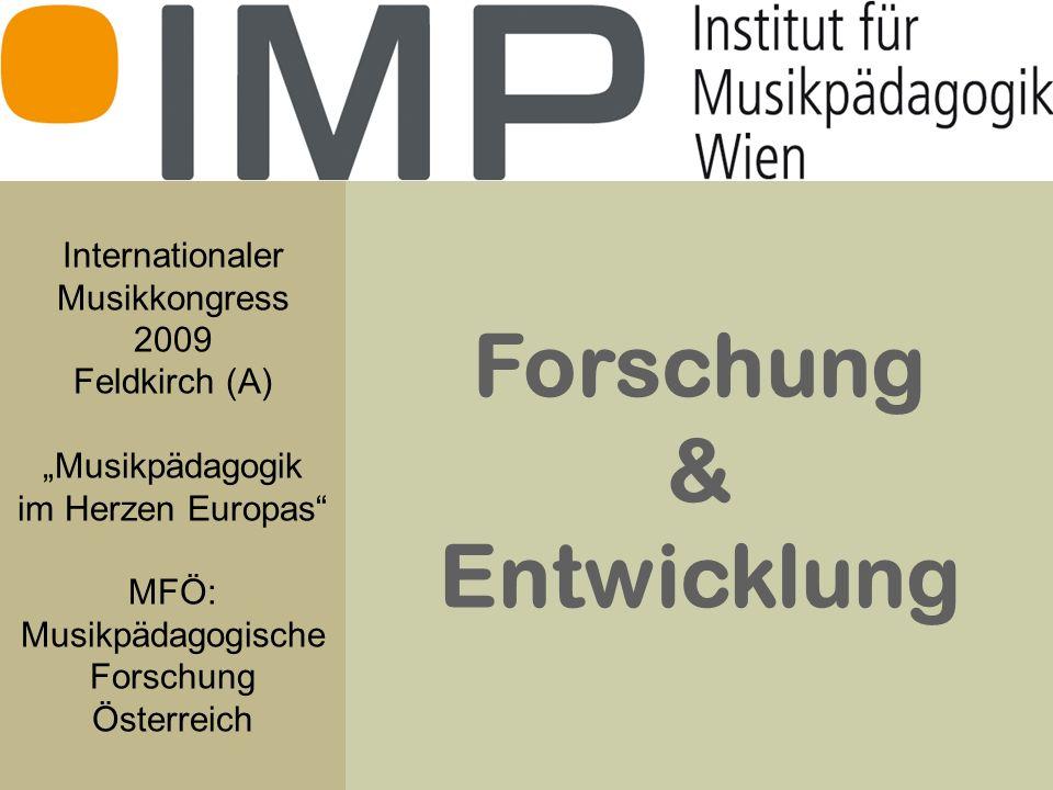 Forschung & Entwicklung Internationaler Musikkongress 2009 Feldkirch (A) Musikpädagogik im Herzen Europas MFÖ: Musikpädagogische Forschung Österreich