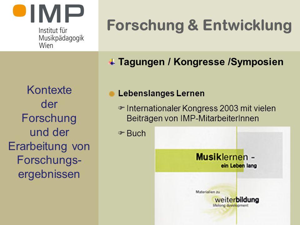 Forschung & Entwicklung Kontexte der Forschung und der Erarbeitung von Forschungs- ergebnissen Lebenslanges Lernen Internationaler Kongress 2003 mit vielen Beiträgen von IMP-MitarbeiterInnen Buch Tagungen / Kongresse /Symposien