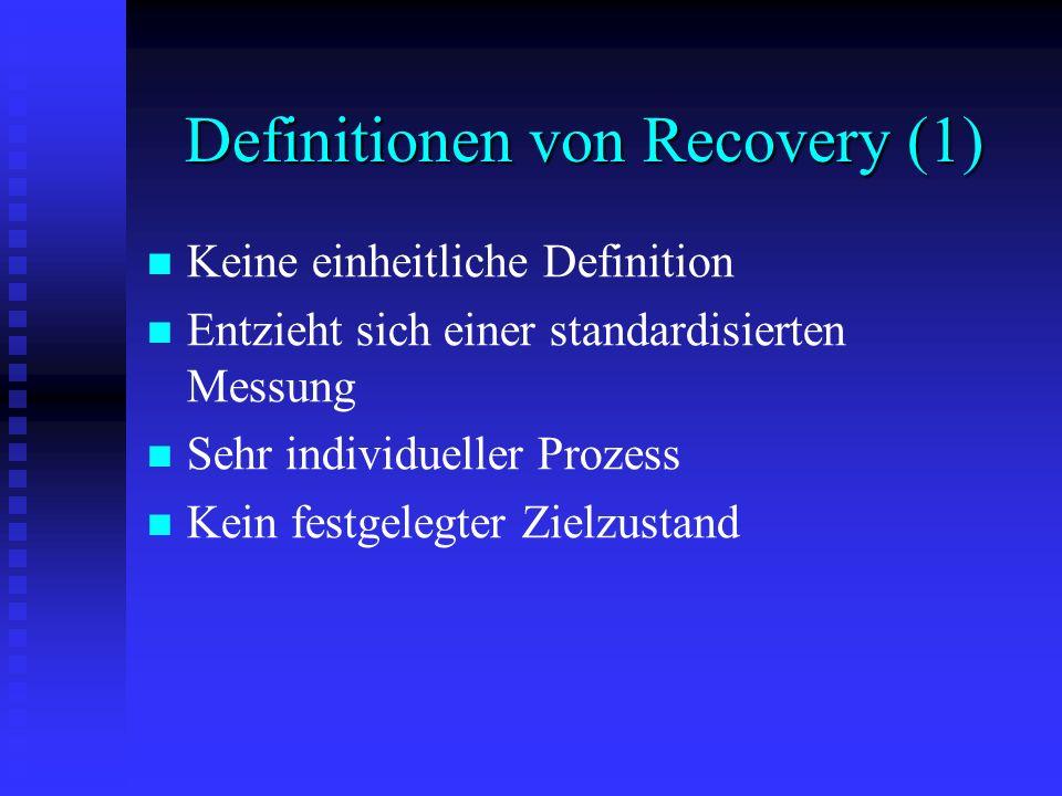 Definitionen von Recovery (1) Keine einheitliche Definition Entzieht sich einer standardisierten Messung Sehr individueller Prozess Kein festgelegter