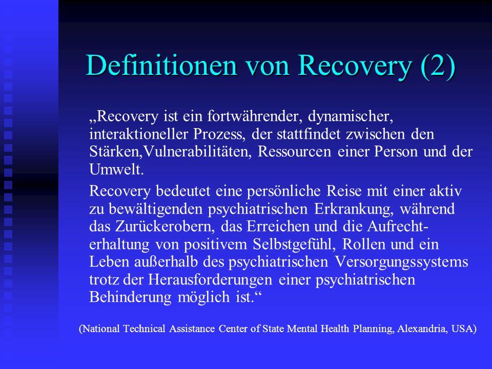Definitionen von Recovery (2) Recovery ist ein fortwährender, dynamischer, interaktioneller Prozess, der stattfindet zwischen den Stärken,Vulnerabilit