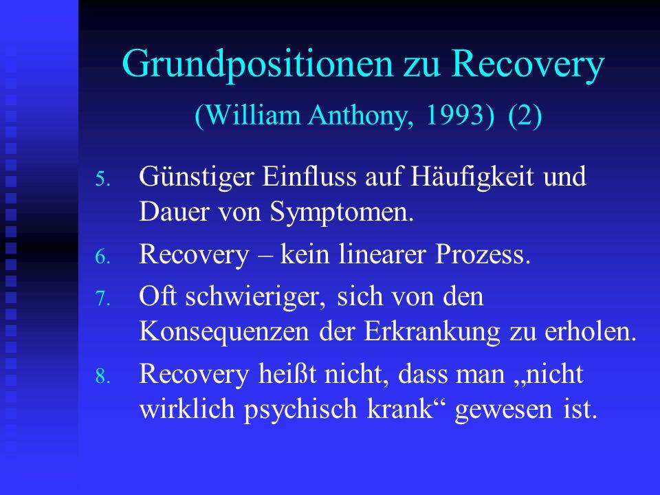 Grundpositionen zu Recovery (William Anthony, 1993) (2) 5. 5. Günstiger Einfluss auf Häufigkeit und Dauer von Symptomen. 6. 6. Recovery – kein lineare