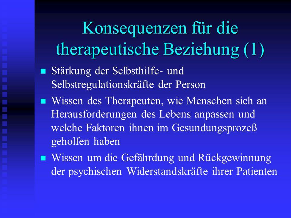 Konsequenzen für die therapeutische Beziehung (1) Stärkung der Selbsthilfe- und Selbstregulationskräfte der Person Wissen des Therapeuten, wie Mensche