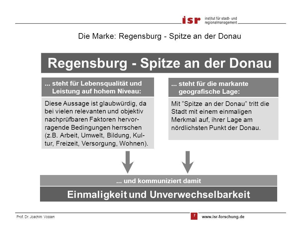 7 Prof. Dr. Joachim Vossen www.isr-forschung.de... steht für die markante geografische Lage: Mit Spitze an der Donau tritt die Stadt mit einem einmali