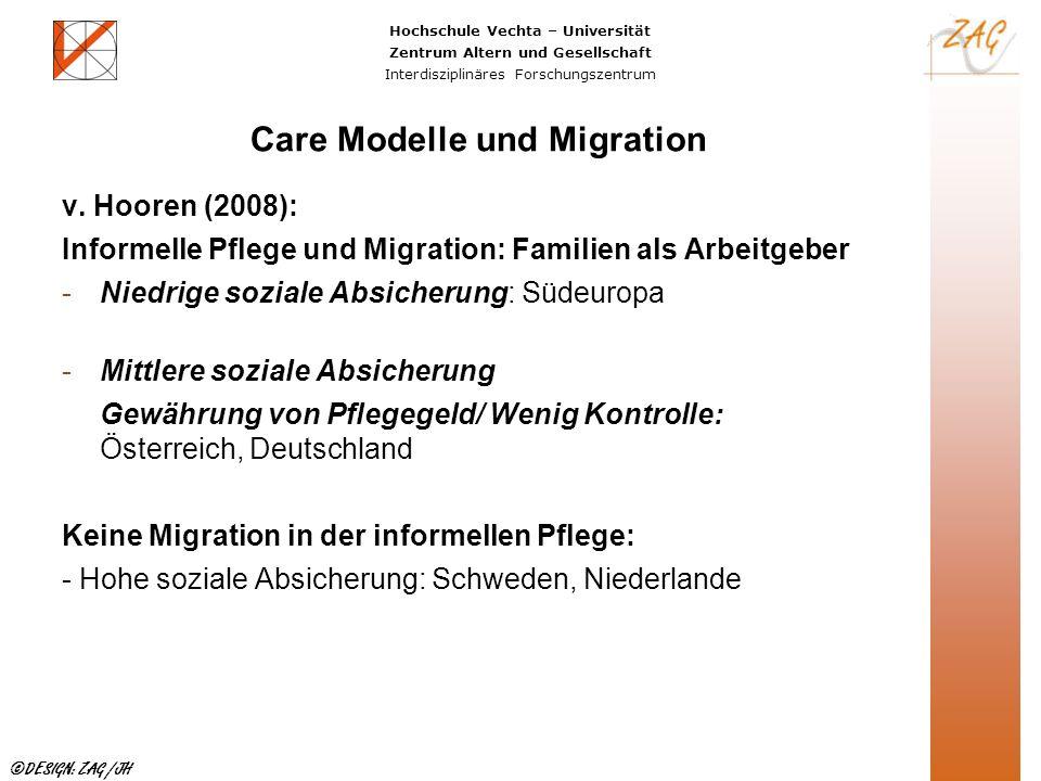 Hochschule Vechta – Universität Zentrum Altern und Gesellschaft Interdisziplinäres Forschungszentrum ©DESIGN: ZAG /JH Care Modelle und Migration v. Ho
