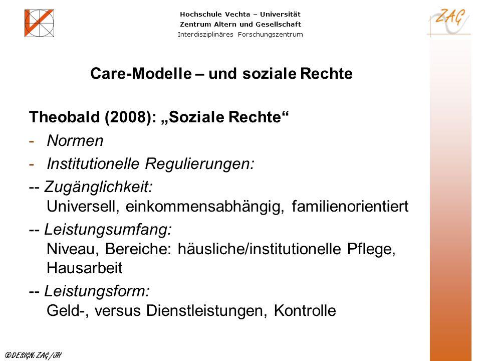 Hochschule Vechta – Universität Zentrum Altern und Gesellschaft Interdisziplinäres Forschungszentrum ©DESIGN: ZAG /JH Care-Modelle – und soziale Recht