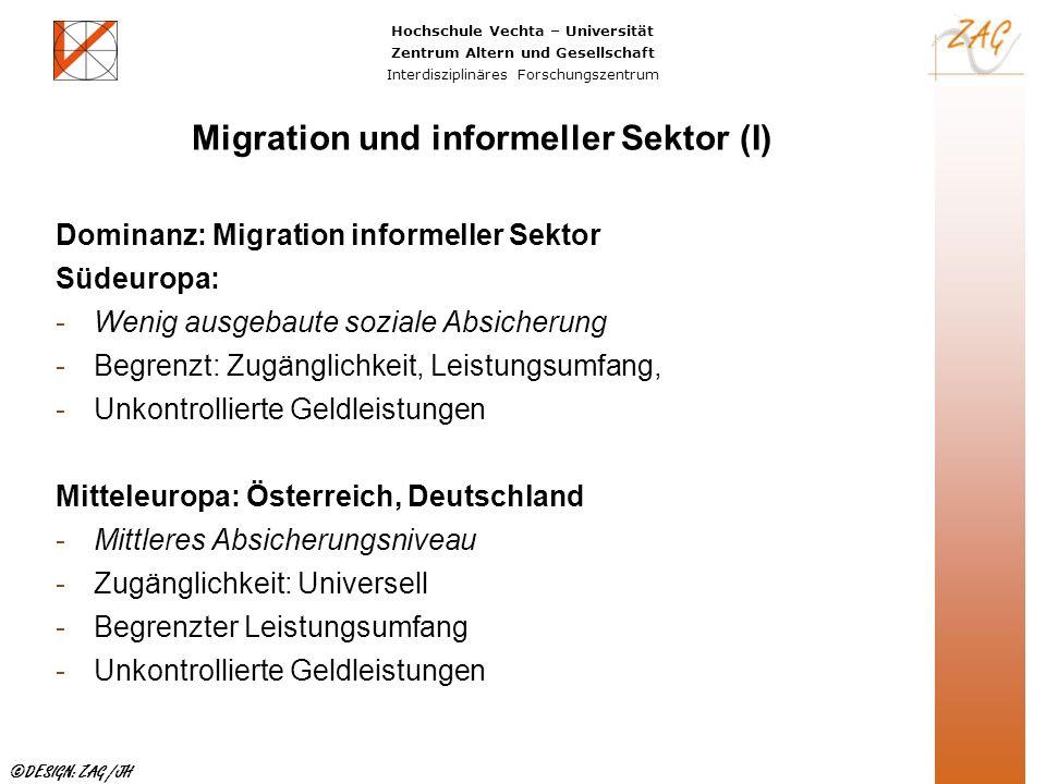 Hochschule Vechta – Universität Zentrum Altern und Gesellschaft Interdisziplinäres Forschungszentrum ©DESIGN: ZAG /JH Migration und informeller Sektor