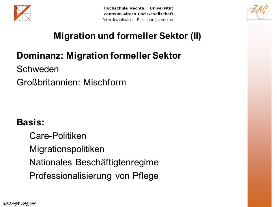 Hochschule Vechta – Universität Zentrum Altern und Gesellschaft Interdisziplinäres Forschungszentrum ©DESIGN: ZAG /JH Migration und formeller Sektor (