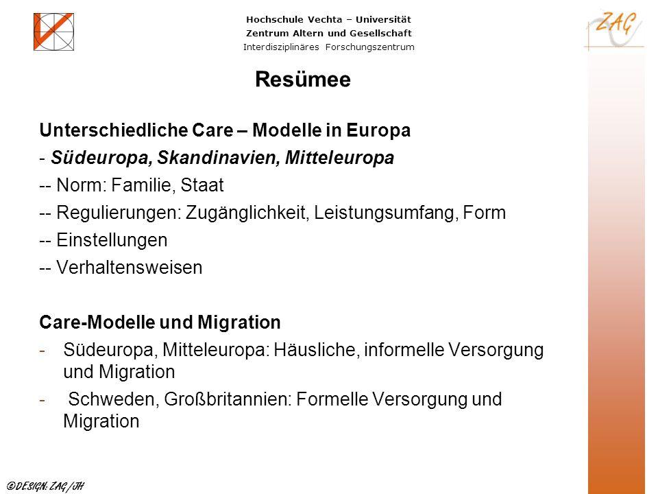 Hochschule Vechta – Universität Zentrum Altern und Gesellschaft Interdisziplinäres Forschungszentrum ©DESIGN: ZAG /JH Resümee Unterschiedliche Care –