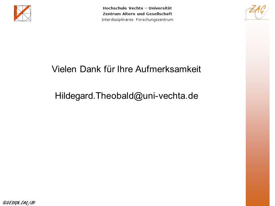 Hochschule Vechta – Universität Zentrum Altern und Gesellschaft Interdisziplinäres Forschungszentrum ©DESIGN: ZAG /JH Vielen Dank für Ihre Aufmerksamk