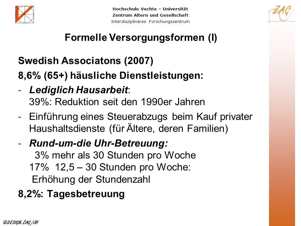 Hochschule Vechta – Universität Zentrum Altern und Gesellschaft Interdisziplinäres Forschungszentrum ©DESIGN: ZAG /JH Formelle Versorgungsformen (I) S
