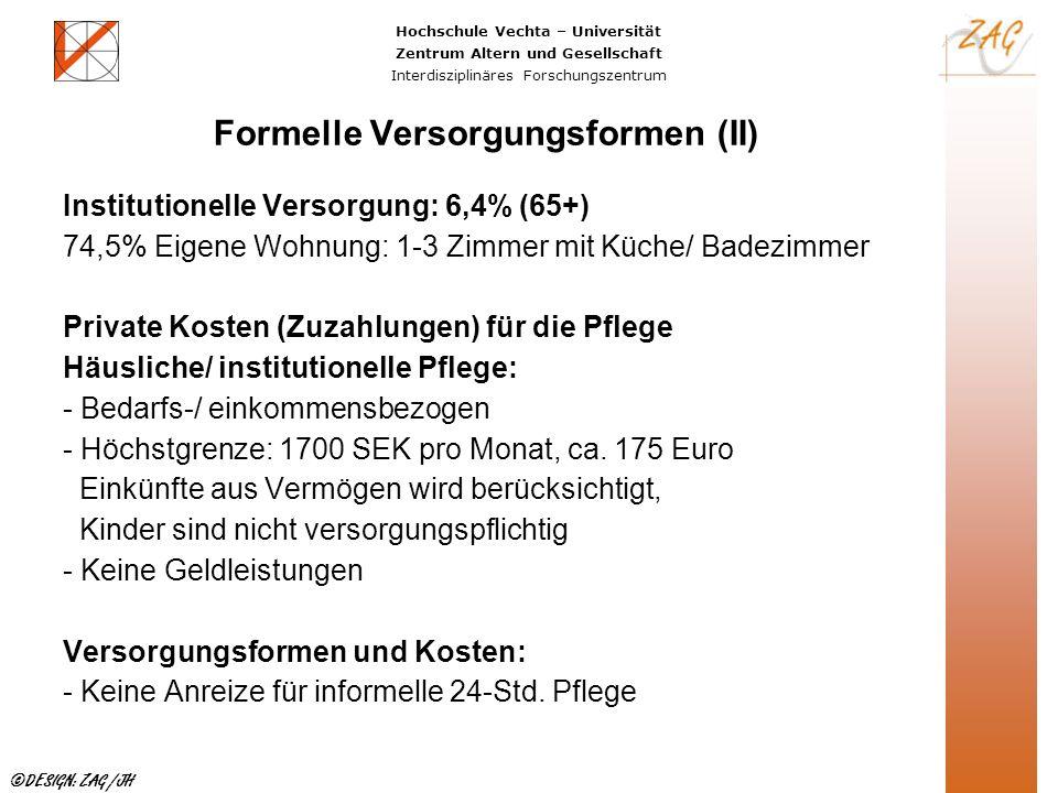 Hochschule Vechta – Universität Zentrum Altern und Gesellschaft Interdisziplinäres Forschungszentrum ©DESIGN: ZAG /JH Formelle Versorgungsformen (II)