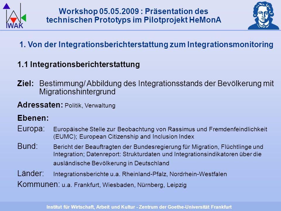 Institut für Wirtschaft, Arbeit und Kultur - Zentrum der Goethe-Universität Frankfurt IWAK 1.
