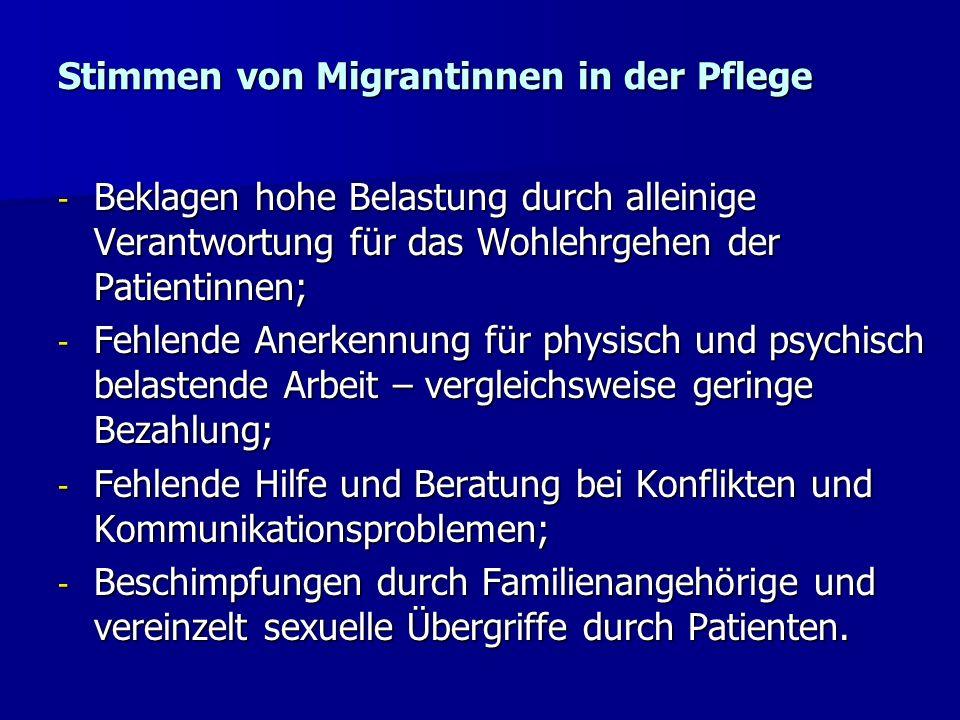 Stimmen von Migrantinnen in der Pflege - Beklagen hohe Belastung durch alleinige Verantwortung für das Wohlehrgehen der Patientinnen; - Fehlende Anerk