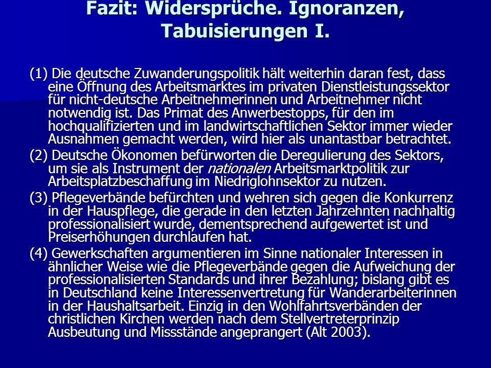 Fazit: Widersprüche. Ignoranzen, Tabuisierungen I. (1) Die deutsche Zuwanderungspolitik hält weiterhin daran fest, dass eine Öffnung des Arbeitsmarkte