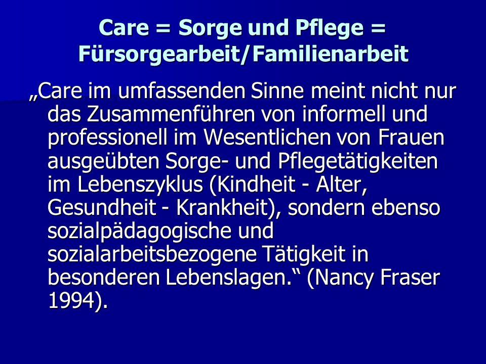 Care = Sorge und Pflege = Fürsorgearbeit/Familienarbeit Care im umfassenden Sinne meint nicht nur das Zusammenführen von informell und professionell i