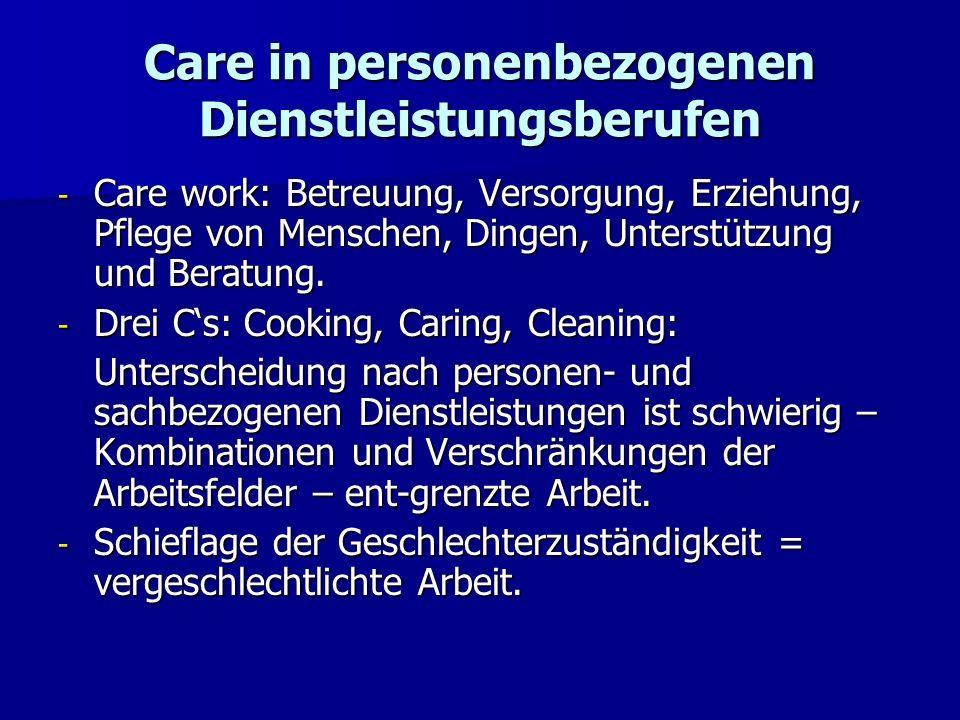 Care in personenbezogenen Dienstleistungsberufen - Care work: Betreuung, Versorgung, Erziehung, Pflege von Menschen, Dingen, Unterstützung und Beratun