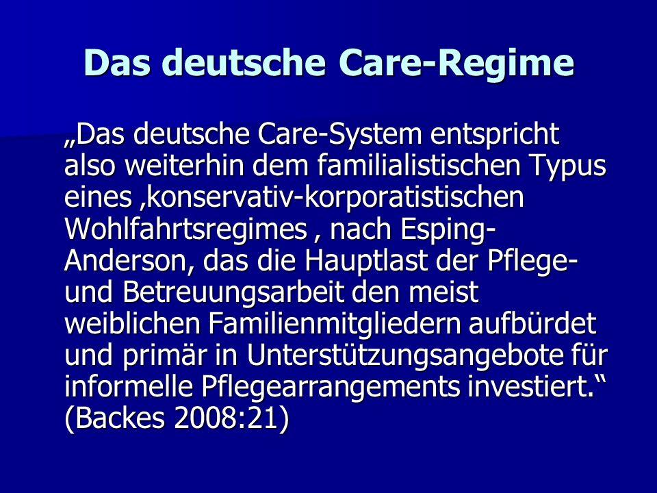 Das deutsche Care-Regime Das deutsche Care-System entspricht also weiterhin dem familialistischen Typus eines konservativ-korporatistischen Wohlfahrts