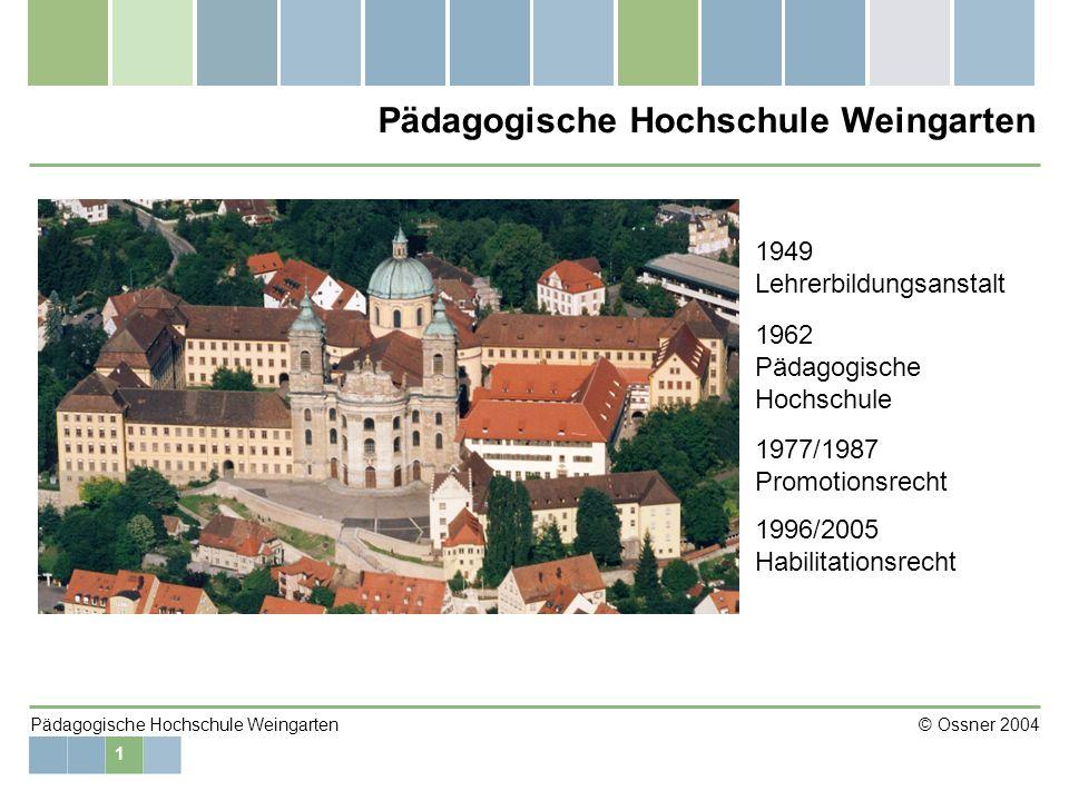 2 Pädagogische Hochschule Weingarten © Ossner 2004 Die Hochschule in Zahlen 53 Professoren 36 Verbeamtete Lehrkräfte (Dozenten; Hochschulassistenten; Akademische Räte und Oberräte; Studienräte, Oberstudienräte; Abgeordnete Lehrer) 20 Angestellte im Hochschuldienst (Wissenschaftliche Mitarbeiter auf Zeit und unbefristet) 54 Beamte und Angestellte in der Verwaltung (einschließlich Bibliothek) 2512 Studierende (im WS 2004/05) Bibliothek: ca.