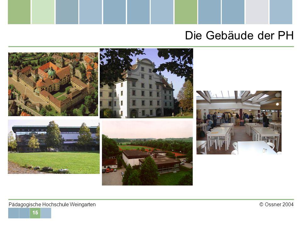 15 Pädagogische Hochschule Weingarten © Ossner 2004 Die Gebäude der PH