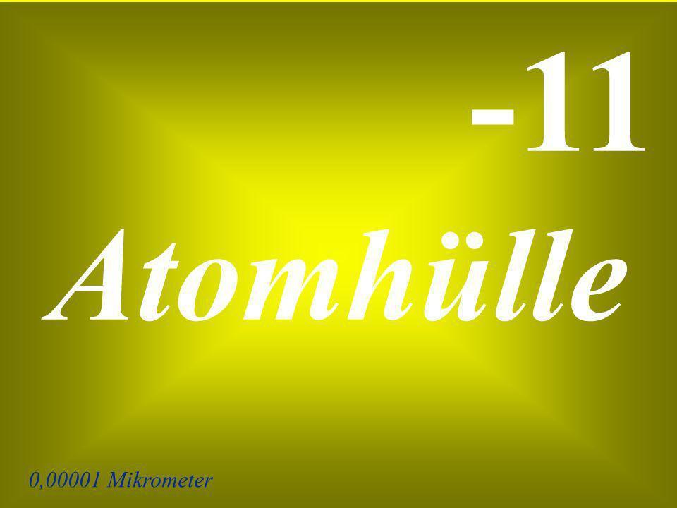 0,00001 Mikrometer -11 Atomhülle