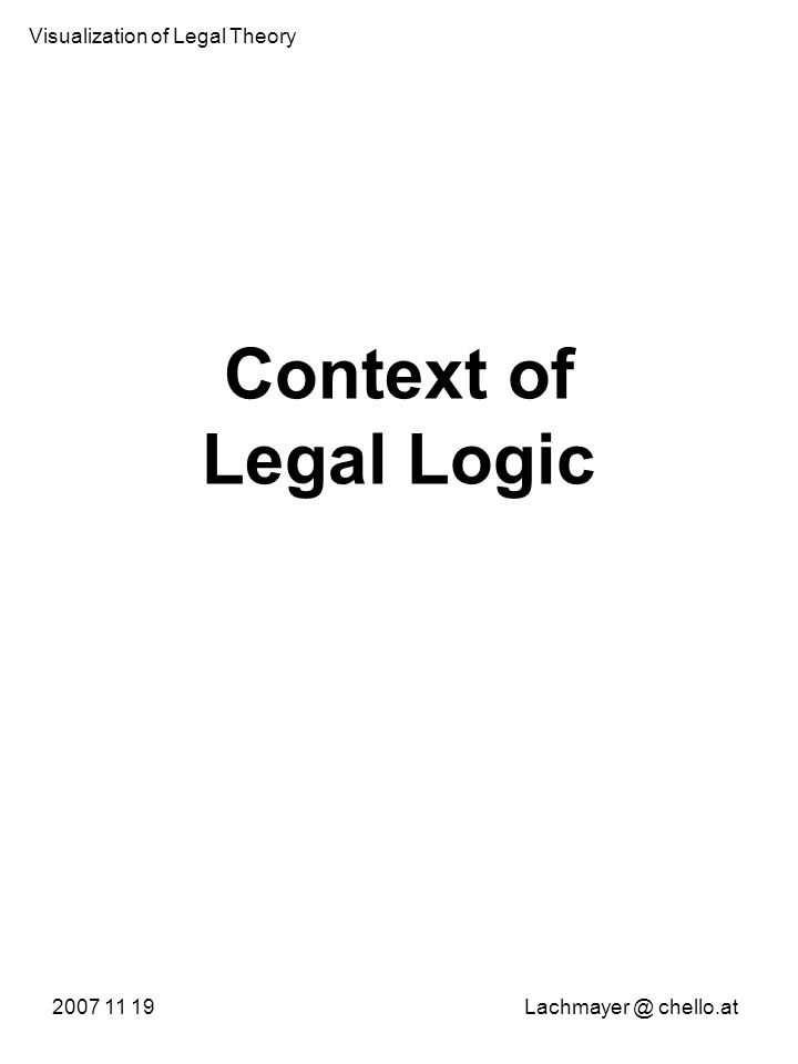 Context of Legal Logic 2007 11 19Lachmayer @ chello.at Visualization of Legal Theory