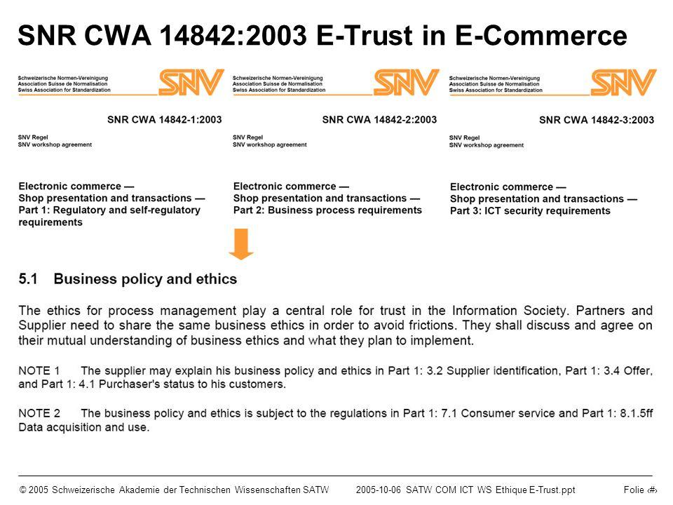 © 2005 Schweizerische Akademie der Technischen Wissenschaften SATW2005-10-06 SATW COM ICT WS Ethique E-Trust.ppt Folie 11 SNR CWA 14842:2003 E-Trust in E-Commerce