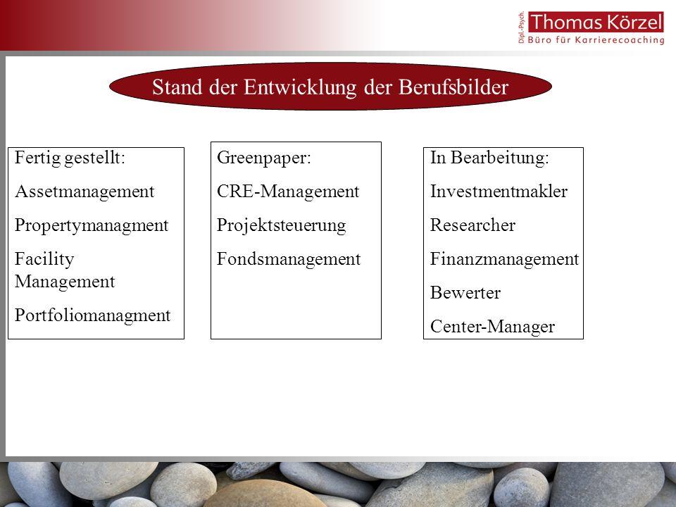 Stand der Entwicklung der Berufsbilder Fertig gestellt: Assetmanagement Propertymanagment Facility Management Portfoliomanagment Greenpaper: CRE-Manag