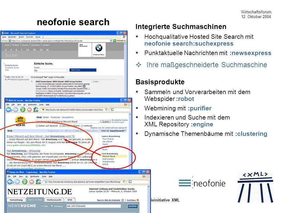 Wirtschaftsforum, 12. Oktober 2004 Die Technologieinitiative XML neofonie search B2B und B2E Integrierte Suchmaschinen Hochqualitative Hosted Site Sea