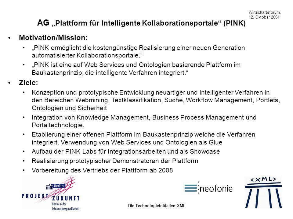 Wirtschaftsforum, 12. Oktober 2004 Die Technologieinitiative XML Motivation/Mission: PINK ermöglicht die kostengünstige Realisierung einer neuen Gener