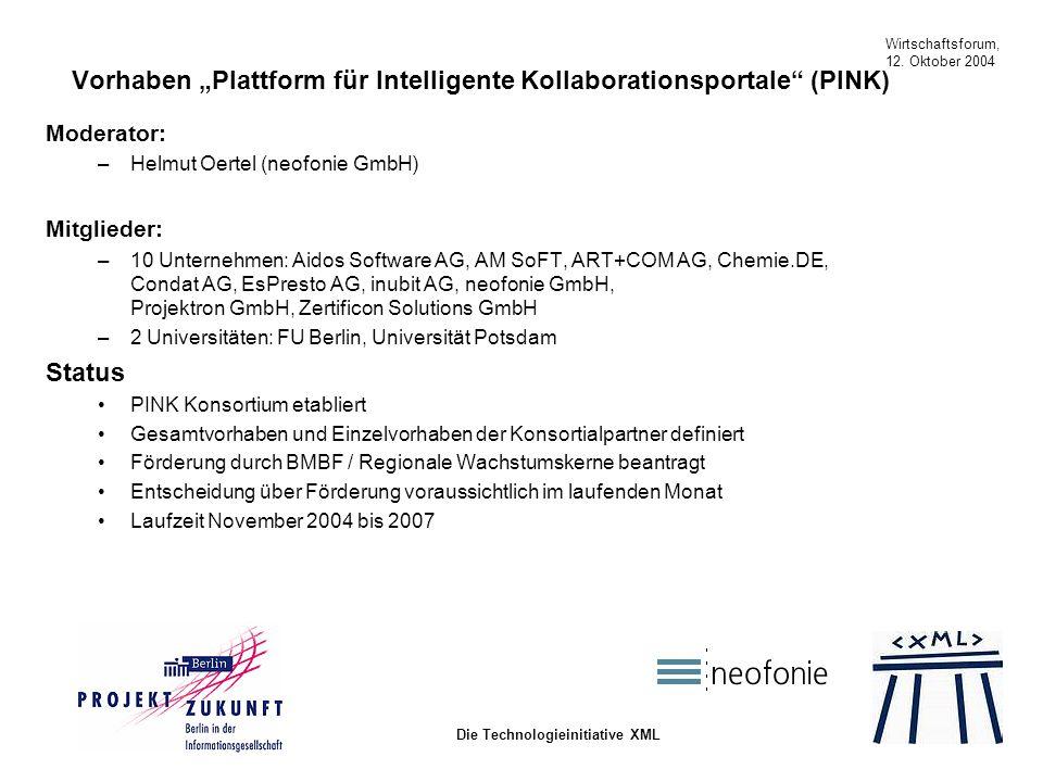 Wirtschaftsforum, 12. Oktober 2004 Die Technologieinitiative XML Vorhaben Plattform für Intelligente Kollaborationsportale (PINK) Moderator: –Helmut O