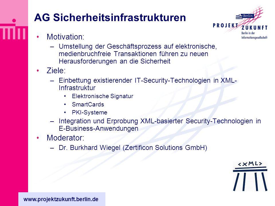 www.projektzukunft.berlin.de AG Sicherheitsinfrastrukturen Motivation: –Umstellung der Geschäftsprozess auf elektronische, medienbruchfreie Transaktionen führen zu neuen Herausforderungen an die Sicherheit Ziele: –Einbettung existierender IT-Security-Technologien in XML- Infrastruktur Elektronische Signatur SmartCards PKI-Systeme –Integration und Erprobung XML-basierter Security-Technologien in E-Business-Anwendungen Moderator: –Dr.