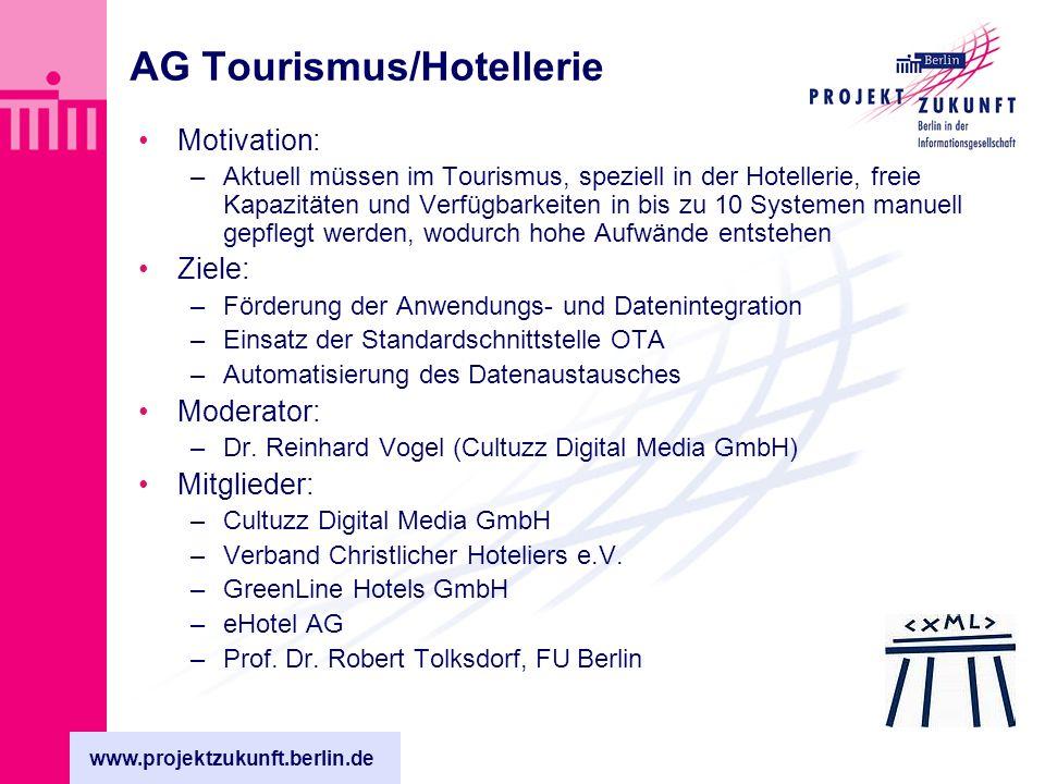 www.projektzukunft.berlin.de AG Tourismus/Hotellerie Motivation: –Aktuell müssen im Tourismus, speziell in der Hotellerie, freie Kapazitäten und Verfügbarkeiten in bis zu 10 Systemen manuell gepflegt werden, wodurch hohe Aufwände entstehen Ziele: –Förderung der Anwendungs- und Datenintegration –Einsatz der Standardschnittstelle OTA –Automatisierung des Datenaustausches Moderator: –Dr.