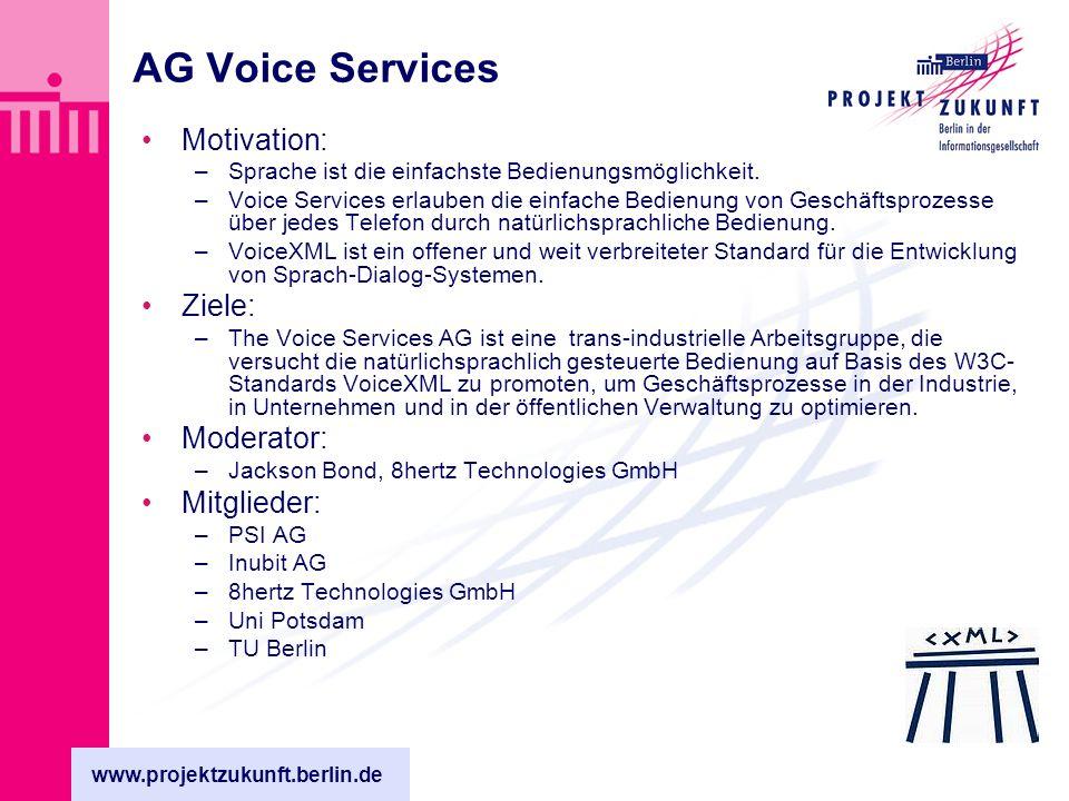 www.projektzukunft.berlin.de AG Voice Services Motivation: –Sprache ist die einfachste Bedienungsmöglichkeit.