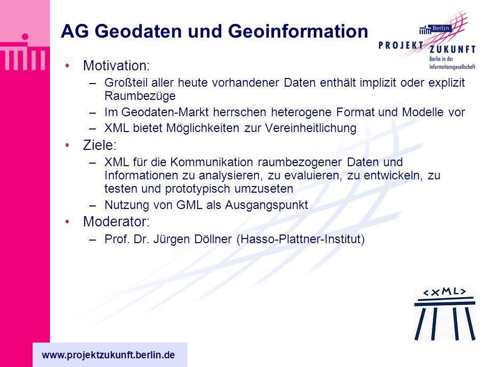 www.projektzukunft.berlin.de AG Geodaten und Geoinformation Motivation: –Großteil aller heute vorhandener Daten enthält implizit oder explizit Raumbezüge –Im Geodaten-Markt herrschen heterogene Format und Modelle vor –XML bietet Möglichkeiten zur Vereinheitlichung Ziele: –XML für die Kommunikation raumbezogener Daten und Informationen zu analysieren, zu evaluieren, zu entwickeln, zu testen und prototypisch umzuseten –Nutzung von GML als Ausgangspunkt Moderator: –Prof.