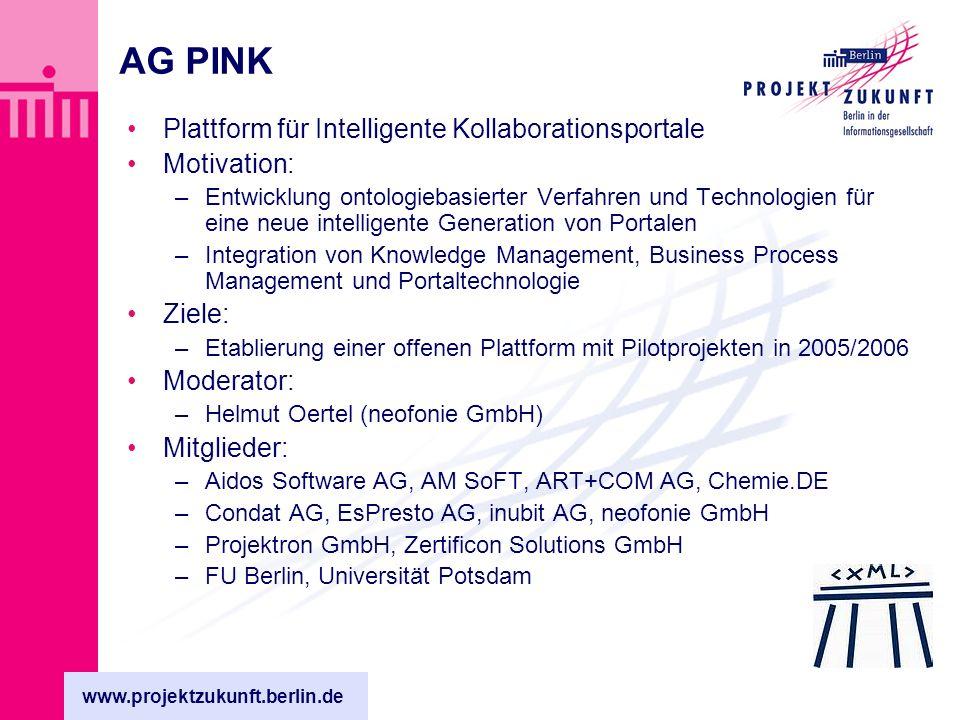 www.projektzukunft.berlin.de AG RMIB Regionale Middleware-Initiative in Berlin und Brandenburg Motivation: –Marktplatz für Kommunikationstechnologien und Anwendungen Ziele: –Semantische Netze (XML) –Regionale, pervasive Kommunikationsinfrastrukturen (Middleware) Moderator: –Jan deMeer, IHP – Institut für hochperformante Mikroelektronik Mitglieder: –TUB – Zentrum Mensch-Maschine-Systeme, –M.ITCONCEPT – Open Schema Factory –FhG FOKUS Berlin – UMTS Testfeld –FHTW – Wirtschaftsinformatik –OM & Partner – Technologie-Unternehmensberatung –TestingTech GmbH – Testing Technologie –IHP – Middleware, drahtlose Kommunikationstechnologien, Sensorik –KMUs aus BB – mobile Anwendungen und Technologien –Weitere Personen und Institutionen aus BB