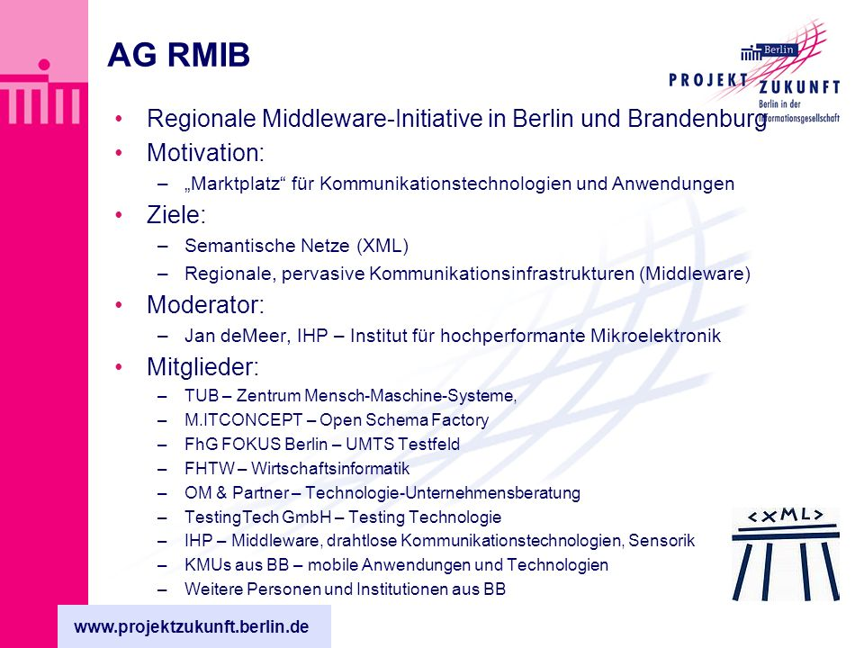 www.projektzukunft.berlin.de AG RMIB Regionale Middleware-Initiative in Berlin und Brandenburg Motivation: –Marktplatz für Kommunikationstechnologien