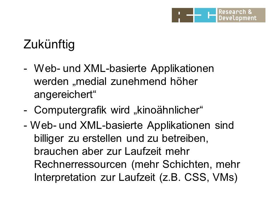 Zukünftig -Web- und XML-basierte Applikationen werden medial zunehmend höher angereichert -Computergrafik wird kinoähnlicher - Web- und XML-basierte Applikationen sind billiger zu erstellen und zu betreiben, brauchen aber zur Laufzeit mehr Rechnerressourcen (mehr Schichten, mehr Interpretation zur Laufzeit (z.B.